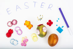Abstract creativity spring Easter background with colored eggs a Stock Image