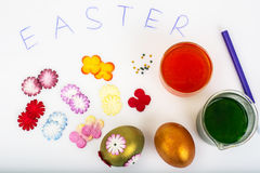Abstract creativity spring Easter background with colored eggs a Stock Photos