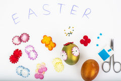 Abstract creativity spring Easter background with colored eggs a Stock Photography
