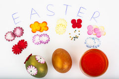 Abstract creativity spring Easter background with colored eggs a Stock Photo