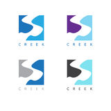 Abstract creek or path labels set vector. Illustration stock illustration