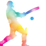 Abstract Cricket Player in Beautiful Summer Haze. Royalty Free Stock Images