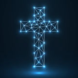 Abstract cross. Christian Symbol. Abstract glowing Christian cross on a blue background Royalty Free Stock Image