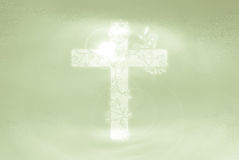 Abstract Cross Christianity Sign and Symbol with flora decoration | Holy and Pure Royalty Free Stock Images