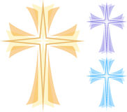 Abstract Cross/eps. Illustration of a vibrant layered cross with a star at its center Royalty Free Stock Images
