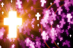 Abstract cross heavenly light background. Magical abstract cross in heaven and light bokeh in the background on black and purple Stock Photos