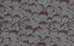 Abstract crowd scene background. Drawing of smiling faces, varied for background, illustration Royalty Free Stock Photo