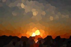 Abstract Crystal Sunset Over Dark Sea Stock Illustratie
