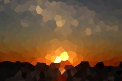 Abstract Crystal Sunset Over Dark Sea. Crystallized illustration made of abstract sunset over dark sea and some clouds floating in sky Royalty Free Stock Photo