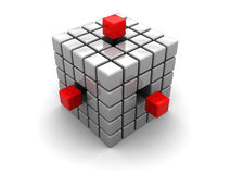 Abstract cube. 3d illustration of cube built from blocks over white background Stock Photography