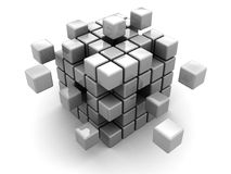 Abstract cube. Abstract 3d illustration of cube assembling from blocks Stock Photos