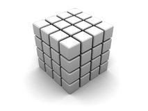 Abstract cube. 3d illustration of plastic cube built from blocks Royalty Free Stock Photo