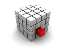 Abstract cube. Abstract 3d illustration of cube built from blocks Stock Images