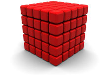 Abstract cube. Abstract 3d illustration of red cube over white background Royalty Free Stock Image