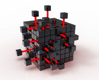 Abstract cube. Abstract 3d illustration of cube assembling from blocks Stock Photo