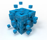 Abstract cube. 3d illustration of cube assembling from blocks Stock Image