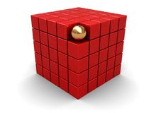 Abstract cube. Abstract 3d illustration of red cube and golden sphere Stock Photos