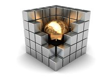Abstract cube. Abstract 3d illustration of steel cube with golden ball inside Royalty Free Stock Photography