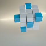 Abstract cube assembling from blocks. Abstract 3d illustration of cube assembling from blocks. Gray background with glow. Template for your design Stock Photos