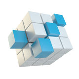 Abstract cube assembling from blocks Royalty Free Stock Photo