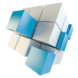 Abstract cube assembling from blocks. Abstract 3d illustration of cube assembling from blocks. Isolated on white. Template for your design Royalty Free Stock Photos