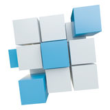 Abstract cube assembling from blocks Royalty Free Stock Images