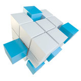 Abstract cube assembling from blocks. Abstract 3d illustration of cube assembling from blocks. Isolated on white. Template for your design Stock Image