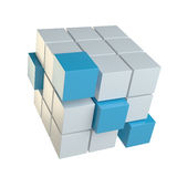 Abstract cube assembling from blocks. Abstract 3d illustration of cube assembling from blocks. Isolated on white. Template for your design Stock Photography
