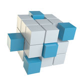 Abstract cube assembling from blocks. Abstract 3d illustration of cube assembling from blocks. Isolated on white. Template for your design Stock Photos