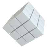Abstract cube assembling from blocks. Abstract 3d illustration of cube assembling from blocks. Isolated on white. Template for your design Royalty Free Stock Image