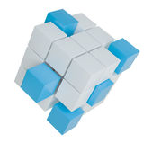 Abstract cube assembling from blocks. Abstract 3d illustration of cube assembling from blocks. Isolated on white. Template for your design Stock Images