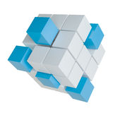 Abstract cube assembling from blocks. Abstract 3d illustration of cube assembling from blocks. Isolated on white. Template for your design Royalty Free Stock Photo