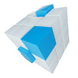 Abstract cube assembling from blocks Royalty Free Stock Image