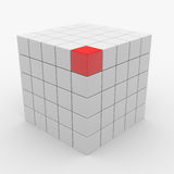 Abstract cube assembling from white blocks Royalty Free Stock Photo