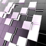 Abstract cube background techno wallpaper. Futuristic cube background wallpaper made of shiny black blocks Stock Photos