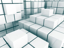 Abstract Cube Blocks Architecture Background. 3d Render Illustration Stock Image