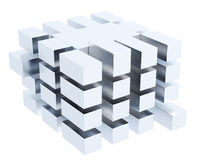Abstract cube box isolated on white background. 3d rendering.  Stock Photography
