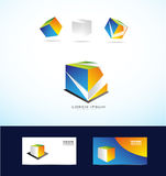 Abstract cube box logo set Royalty Free Stock Image