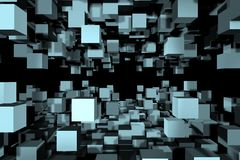 An abstract cube design - a 3d image. An abstract design of cubes detached from main shape, a 3d image Stock Photography