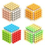Abstract cube emblems made of spheres isolated. On white Stock Image