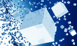 Abstract  cube falling background. Group of cubes falling effect background 3d illustration Royalty Free Illustration