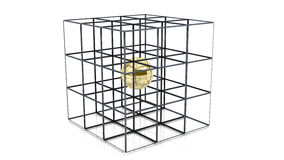 3d Cube with golden ball inside. Abstract cube with golden ball inside on white background in 3d Royalty Free Stock Photos