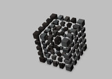 Abstract cube logo vector outline on a grey background Royalty Free Stock Photography