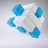 Abstract cube made up of blocks. The gray background Vector Illustration
