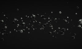 Abstract cube object black and gray 3d rendering Stock Photography