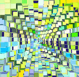 Abstract cube pattern in blue green yellow Royalty Free Stock Image