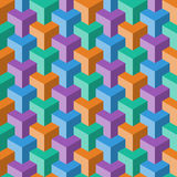Abstract cube pattern. Abstract color cube seamless pattern stock illustration