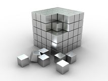 Abstract cube puzzle. 3d illustration of cube puzzle, construction, materila - stainless steel Royalty Free Stock Photo