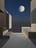 Abstract Cube Stage with Moon Royalty Free Stock Photography