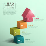 Abstract Cube Stair With House Infographics Royalty Free Stock Photos